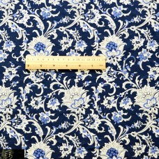 China Style Blue Fabric Flora Linen Cotton 1/2 Yard