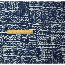 China Style Blue Fabric Tibet Word Linen Cotton 1/2 Yard