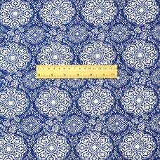 China Style Blue Fabric  Cloud Pattern Linen Cotton 1/2 Yard