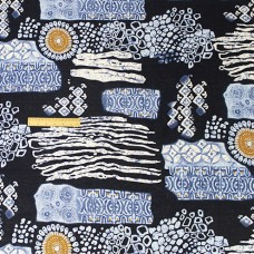 China Style Blue Fabric Geometry Linen Cotton 1/2 Yard