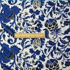 China Style Blue Fabric Trespe Linen Cotton 1/2 Yard