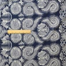 China Style Blue Fabric Amoeba Linen Cotton 1/2 Yard