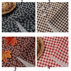 Grid and Flower Cotton Linen Fabric 1 yard
