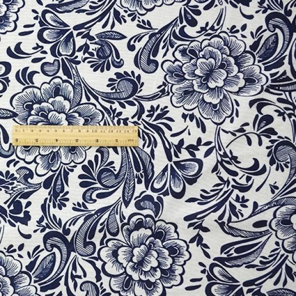 China Style Blue Fabric Cream-Coloured Porcelain Linen Cotton 1/2 Yard