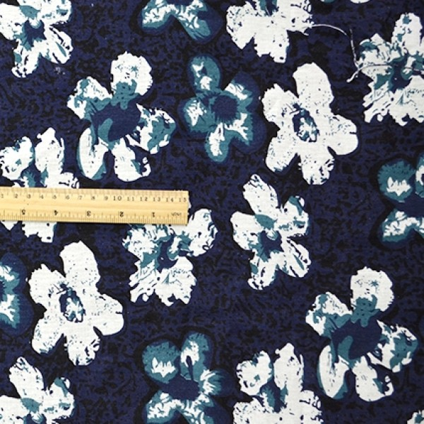 China Style Blue Fabric Ink Flower Linen Cotton 1/2 Yard