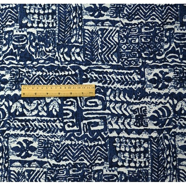 China Style Blue Fabric Tibet Word Linen Cotton 1/2 Yard