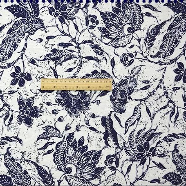 China Style Blue Fabric PiaoHua Linen Cotton 1/2 Yard