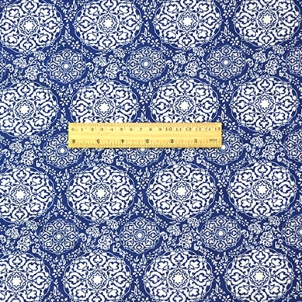 China Style Blue Fabric  Cloud Pattern Linen Cotton 1/2 Yard