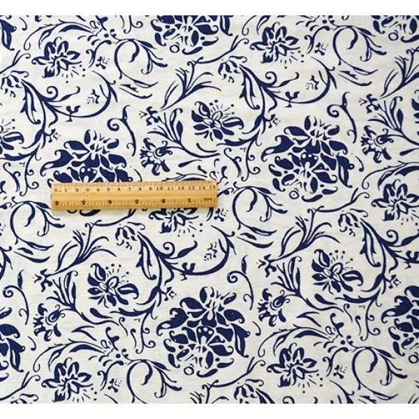 China Style Blue Fabric Porcelain Linen Cotton 1/2 Yard