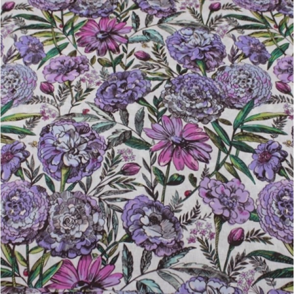 Lavender Meadow Vera Bradley New Fabric Remnant 100% Cotton 1 Yard