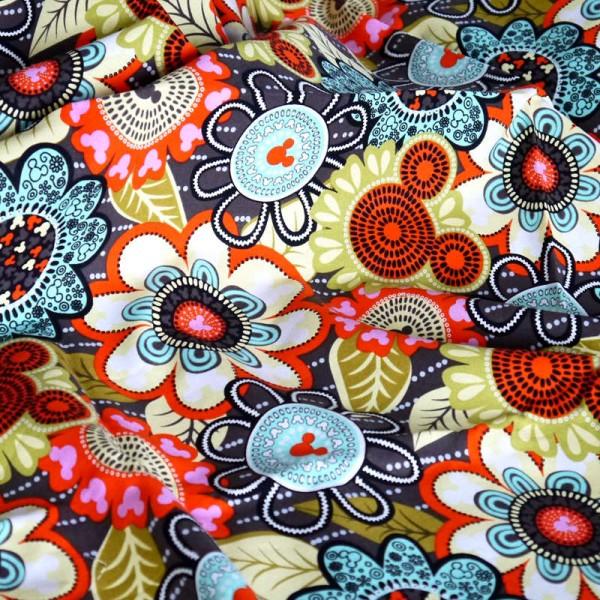 Vera Bradley disney Mickey's Perfect Petals fabric Remnant 100% Cotton 1 Yard