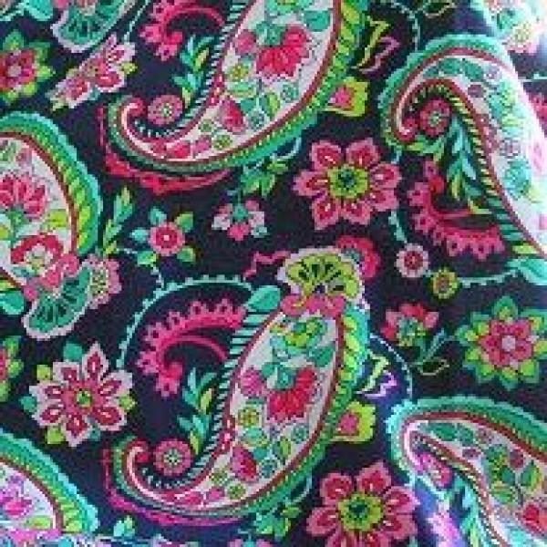2014 Spring Vera Bradley fabric Remnant 100% Cotton Petal Paisley 1 Yard
