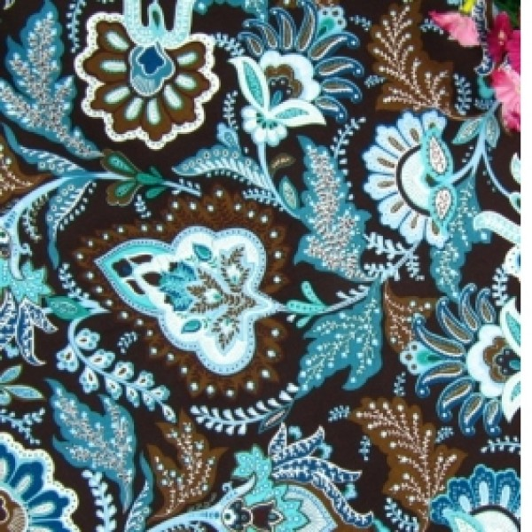 Vera Bradley fabric Remnant 100% Cotton Java Blue 1 Yard