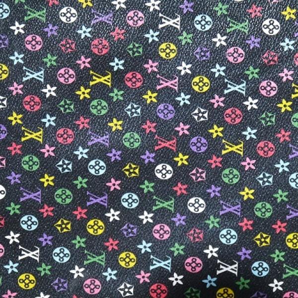 Black Background LV PVC Fabric 1/4 yard