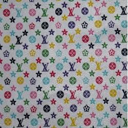 White Background LV PVC Fabric 1/4 yard