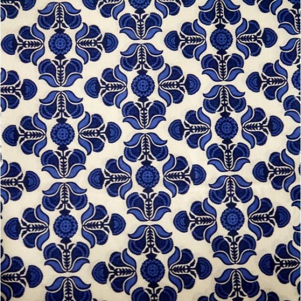 Vera Bradley Cobalt Tile Fabric Remnant 100% Cotton 1 Yard